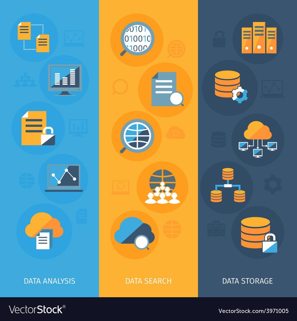 Big data vertical banners set vector   Price: 1 Credit (USD $1)