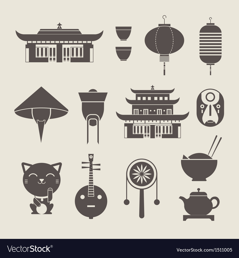 Chineese travel icons vector | Price: 3 Credit (USD $3)