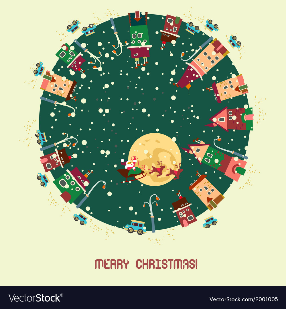 Christmas card with cute little town vector | Price: 1 Credit (USD $1)