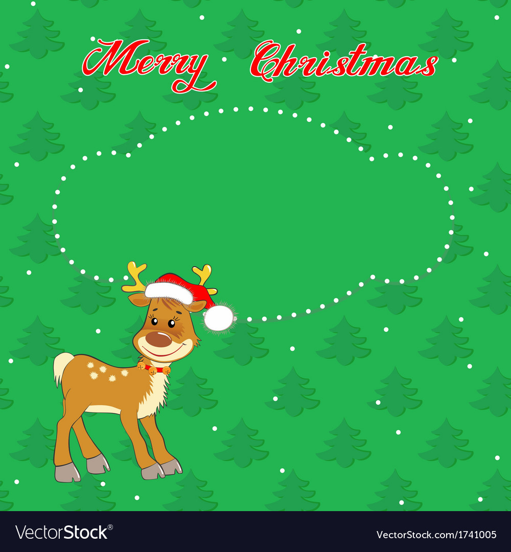 Christmas card with little deer vector | Price: 1 Credit (USD $1)