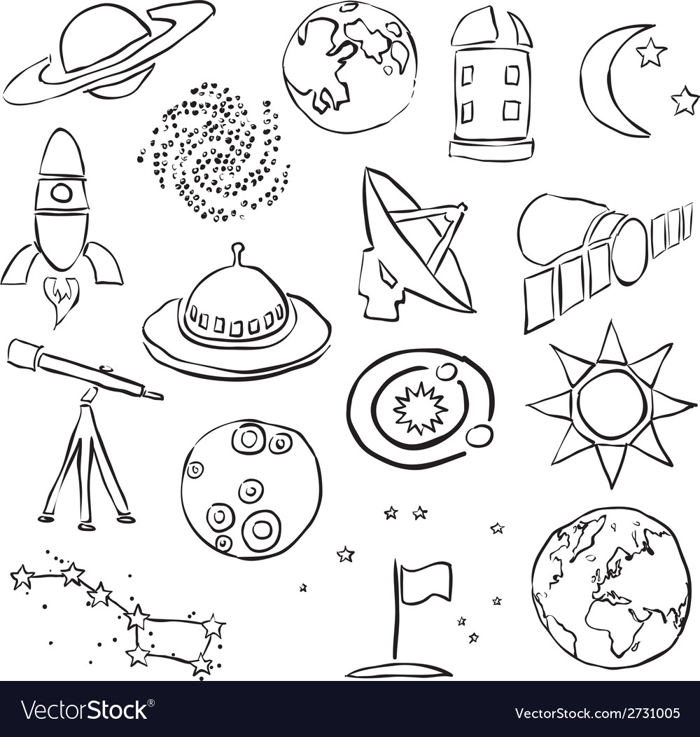 Doodle space images vector | Price: 1 Credit (USD $1)