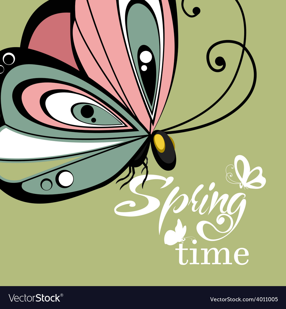Flying butterfly lettering background vector | Price: 1 Credit (USD $1)