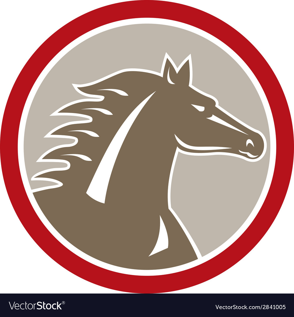 Horse head angry circle retro vector | Price: 1 Credit (USD $1)