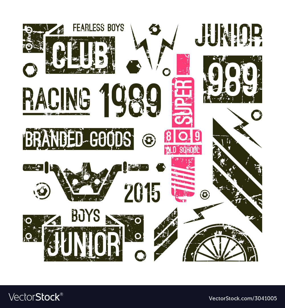 Motorcycle races club badges in retro style vector | Price: 1 Credit (USD $1)