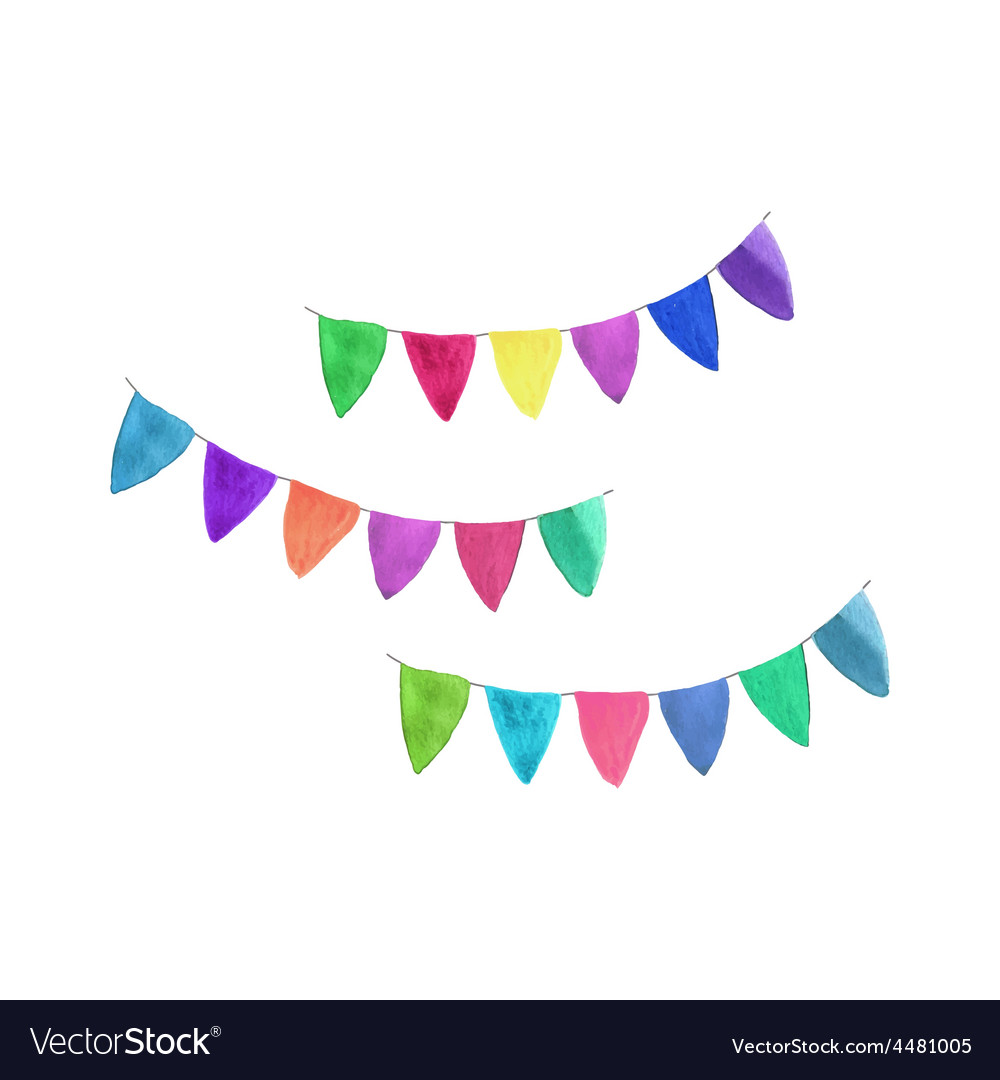 Multicolored garlands watercolor object on the vector | Price: 1 Credit (USD $1)