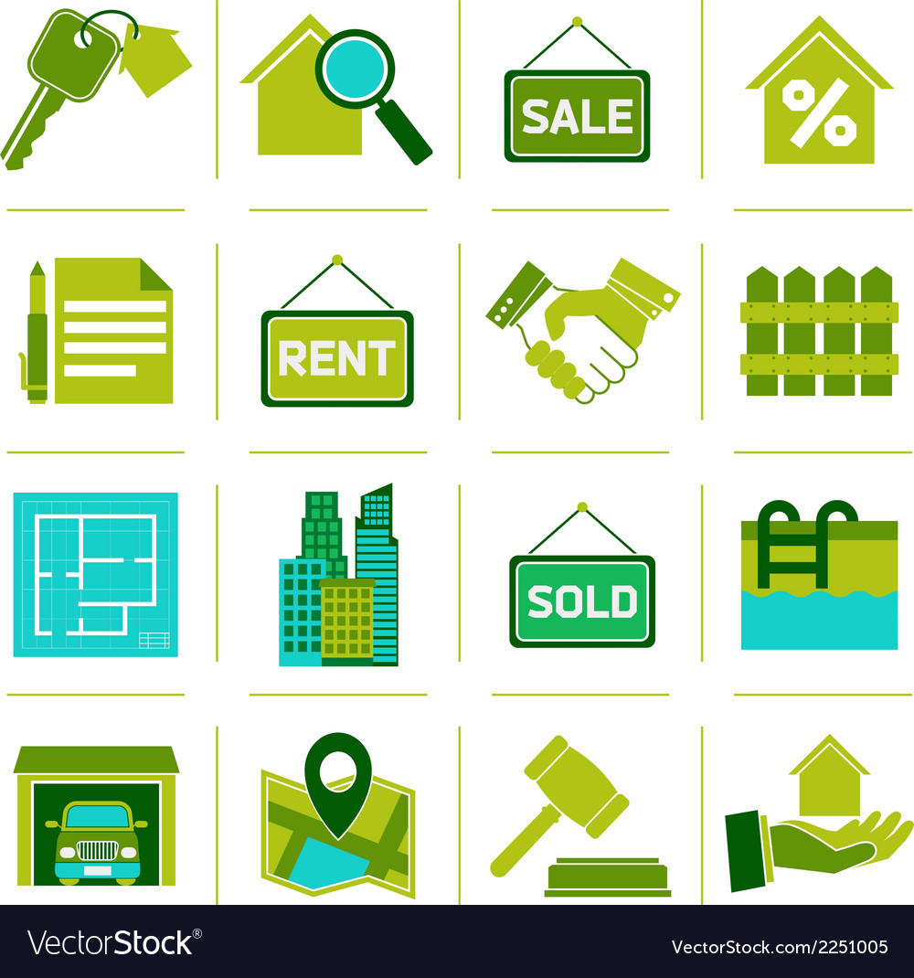 Real estate icons green vector | Price: 1 Credit (USD $1)
