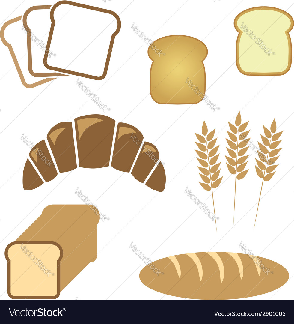 Set of white bread bakery icons vector | Price: 1 Credit (USD $1)