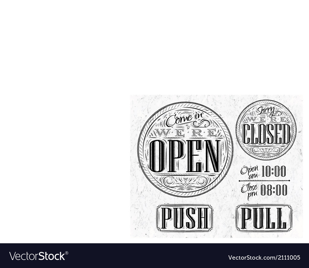 Set vintage open closed vector | Price: 1 Credit (USD $1)