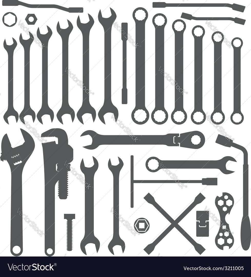 Various wrench silhouette set vector | Price: 1 Credit (USD $1)