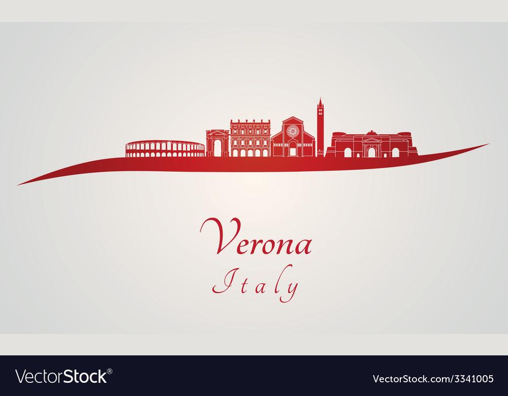 Verona skyline in red vector | Price: 1 Credit (USD $1)