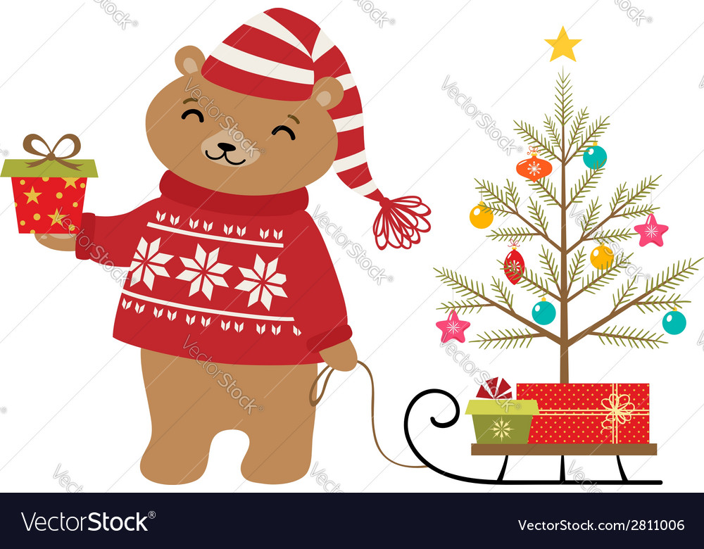 Bear christmas tree vector | Price: 1 Credit (USD $1)