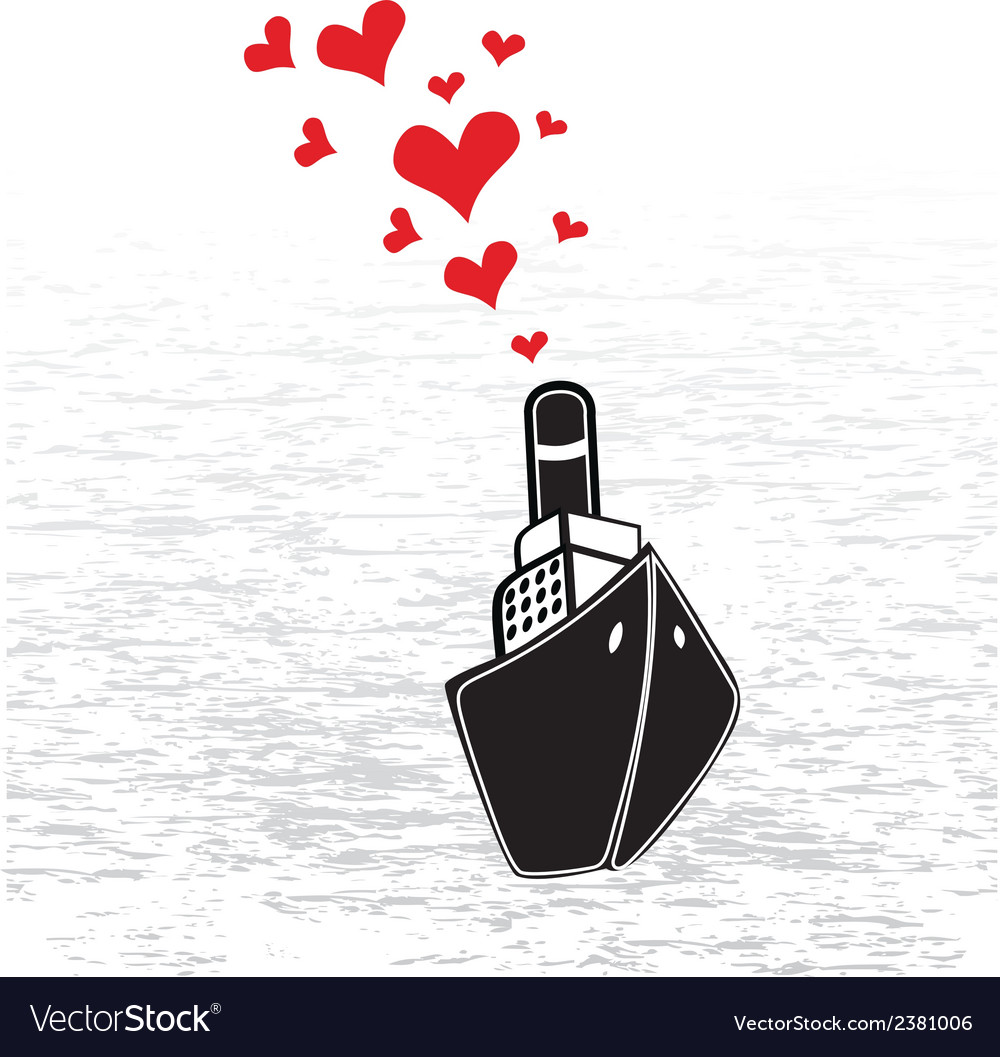 Boat love in valentines day vector | Price: 1 Credit (USD $1)