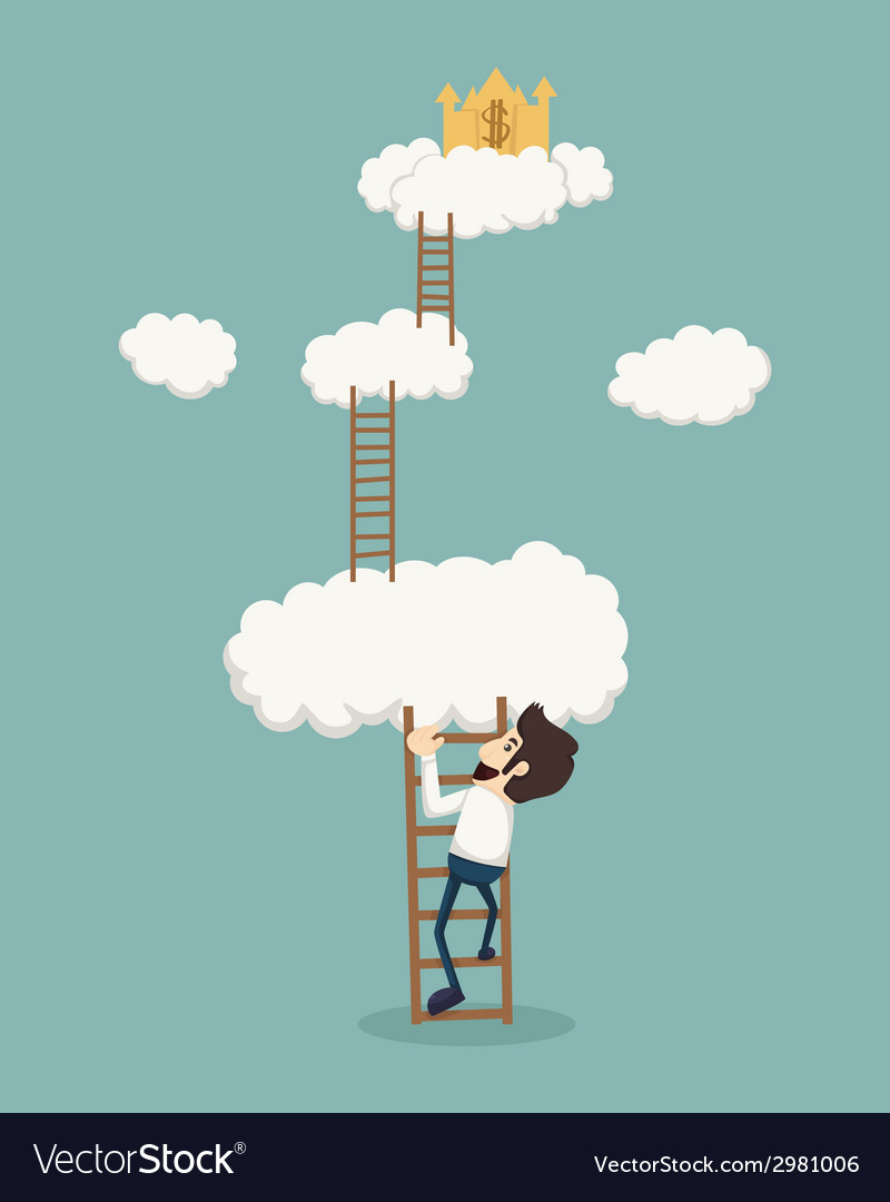 Businessman on a ladder above the clouds looking g vector | Price: 1 Credit (USD $1)