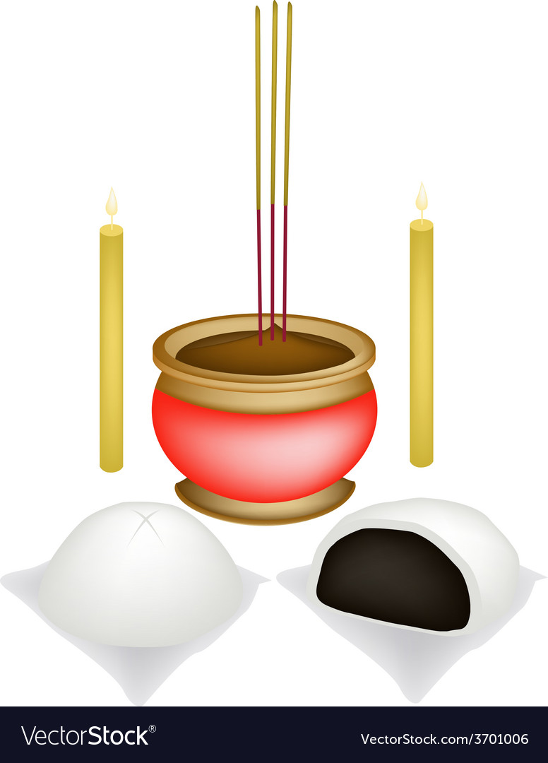 Chinese baozi with candle and joss stick vector | Price: 1 Credit (USD $1)