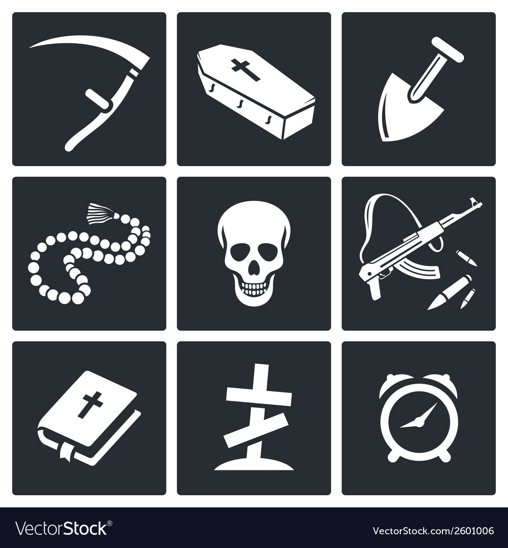 Death and burial icons set vector | Price: 1 Credit (USD $1)