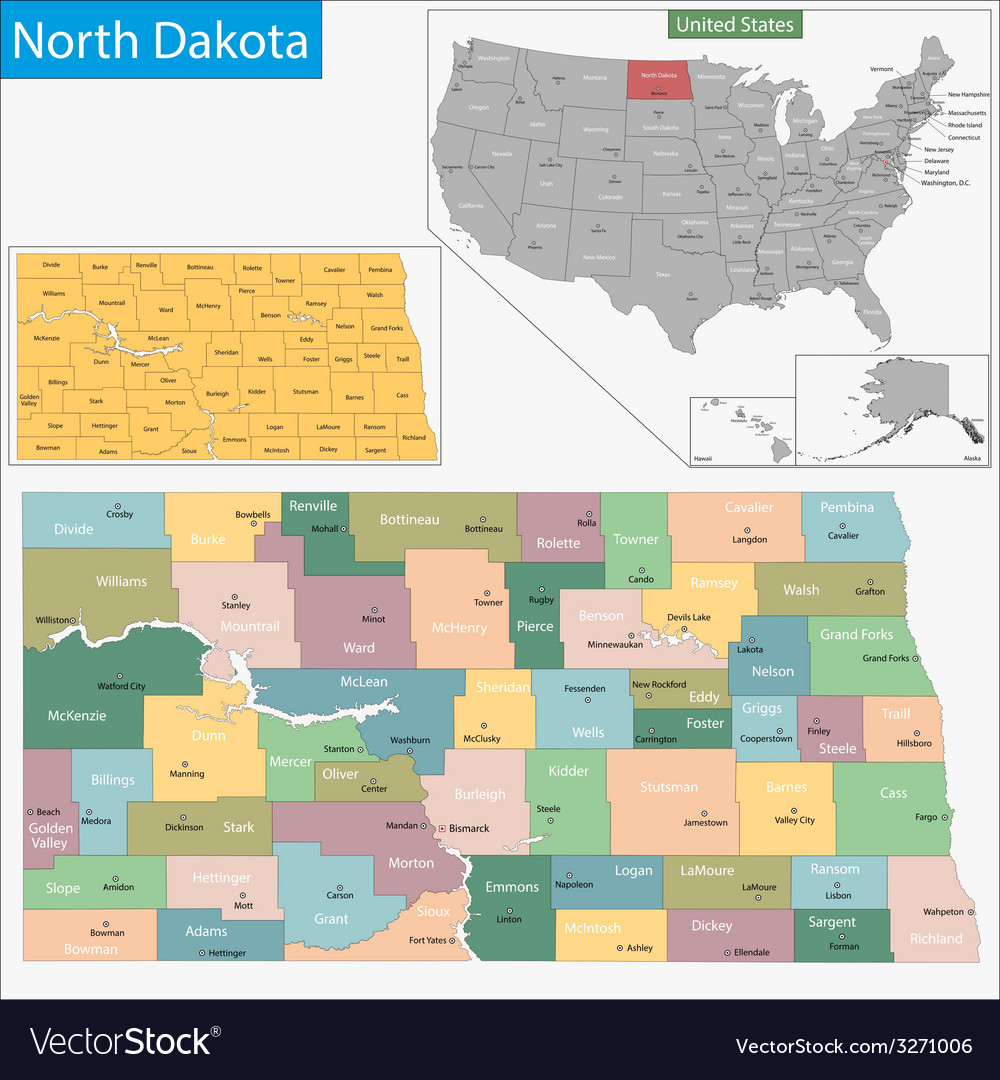 North dakota map vector | Price: 1 Credit (USD $1)