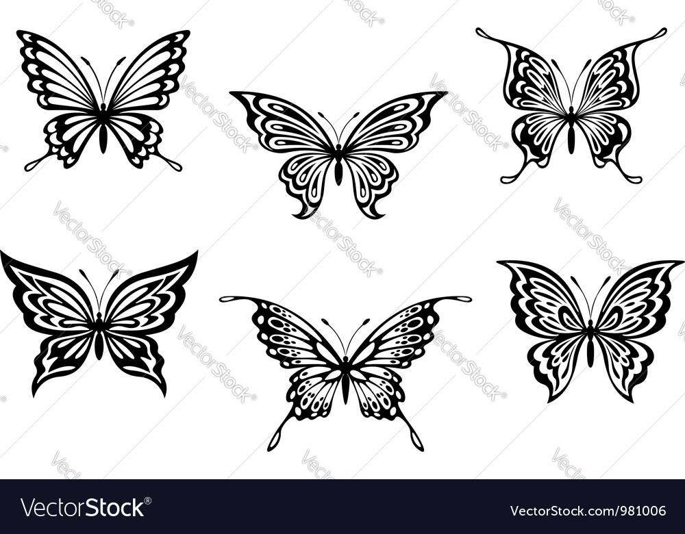 Set of black butterflies vector | Price: 1 Credit (USD $1)
