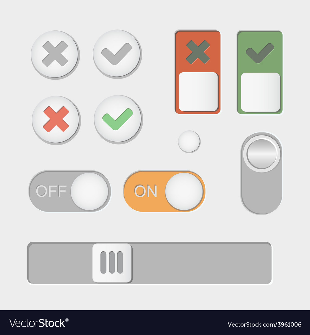 Toggle switch icons on and off check mark vector | Price: 1 Credit (USD $1)