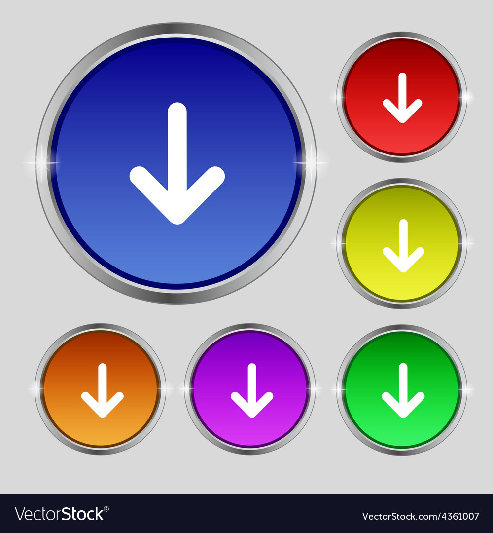 Arrow down download load backup icon sign round vector | Price: 1 Credit (USD $1)