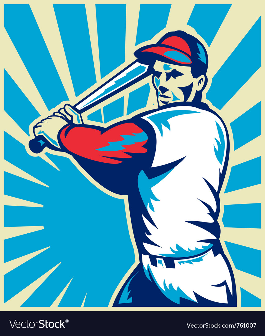 Baseball player holding bat vector | Price: 1 Credit (USD $1)