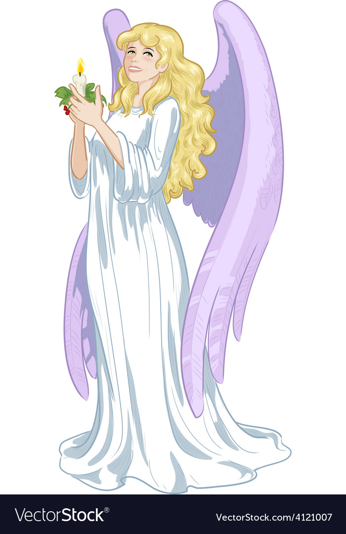 Beautiful caucasian female angel with candle vector | Price: 3 Credit (USD $3)