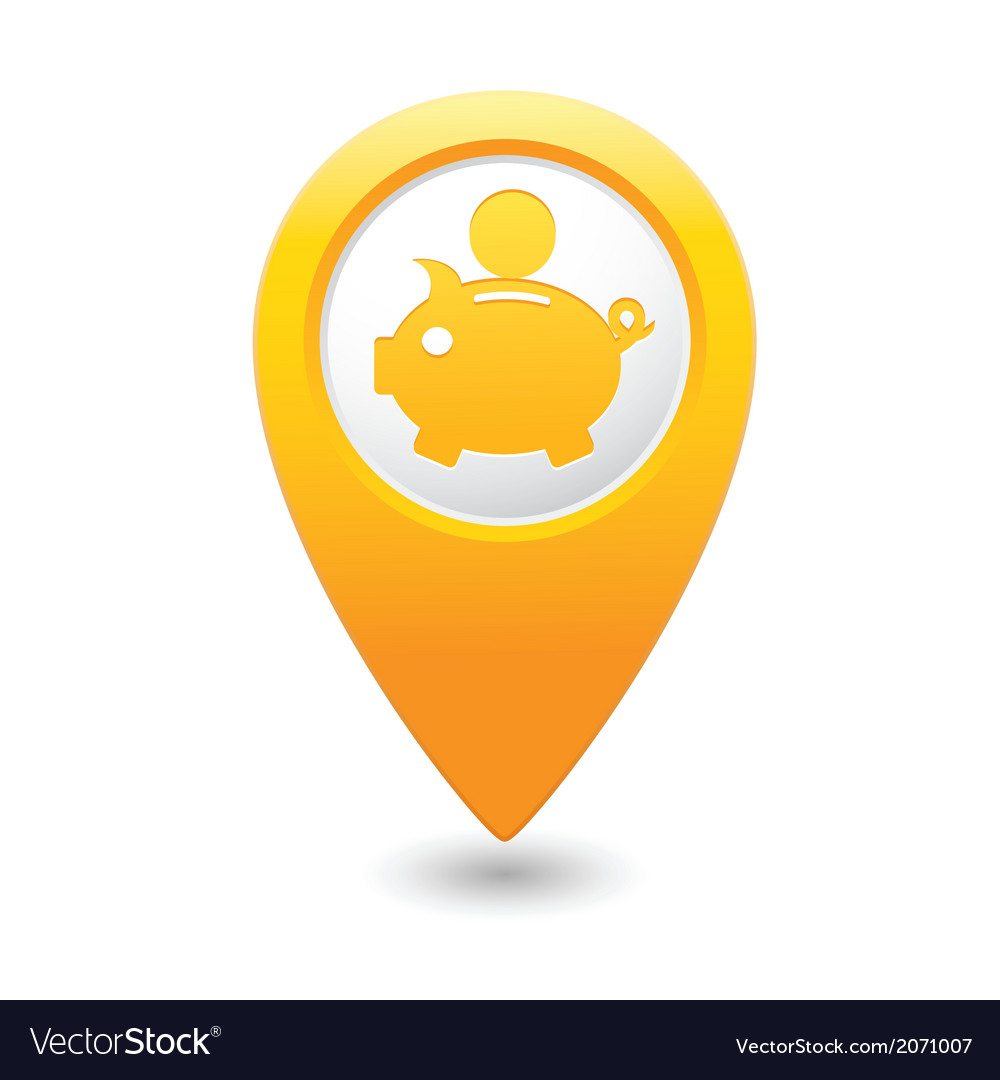 Copypig icon yellow map pointer vector | Price: 1 Credit (USD $1)