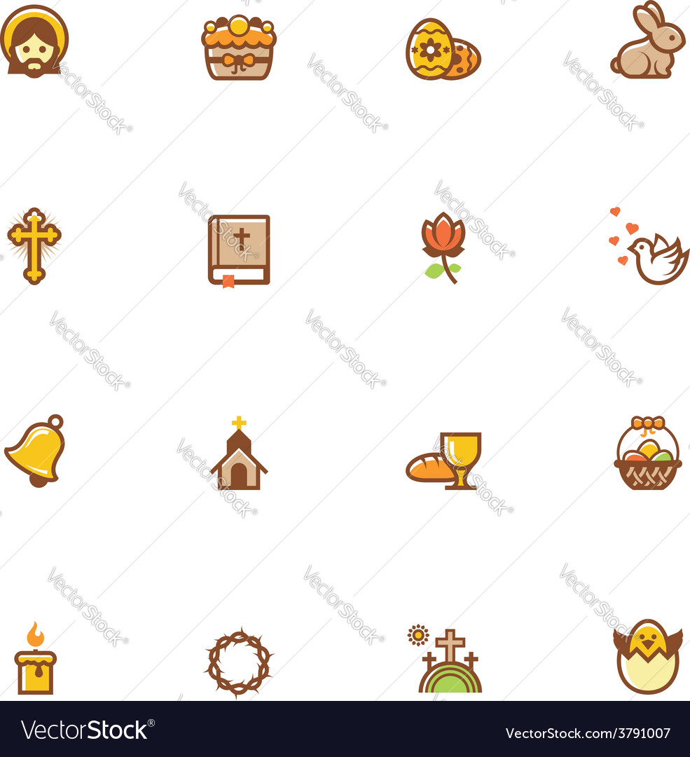 Easter icon set vector | Price: 1 Credit (USD $1)