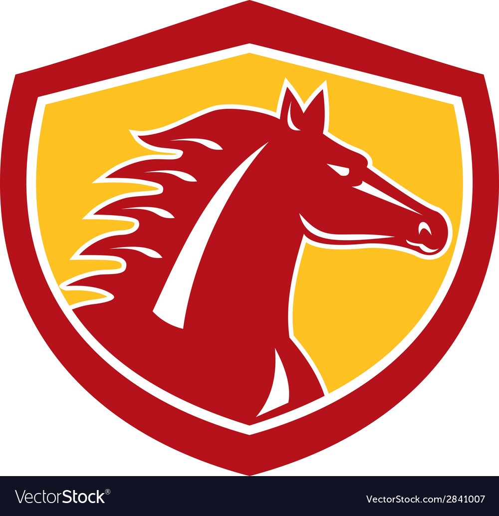 Horse head angry shield retro vector | Price: 1 Credit (USD $1)