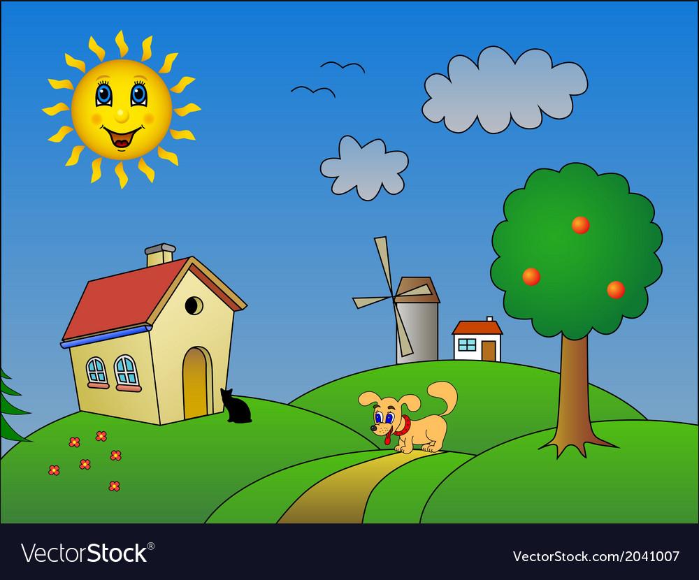 Landscape with happy sun vector | Price: 1 Credit (USD $1)