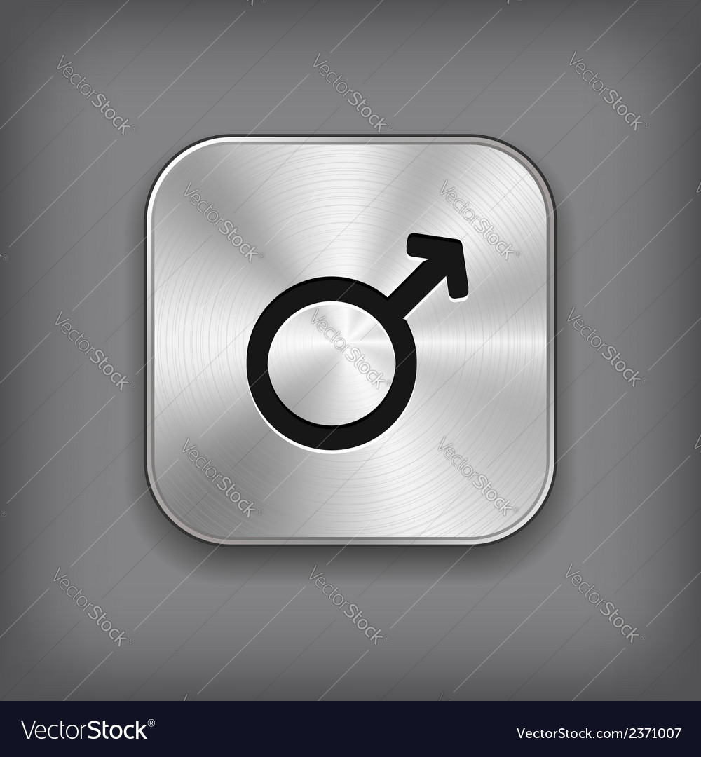 Male icon - metal app button vector | Price: 1 Credit (USD $1)