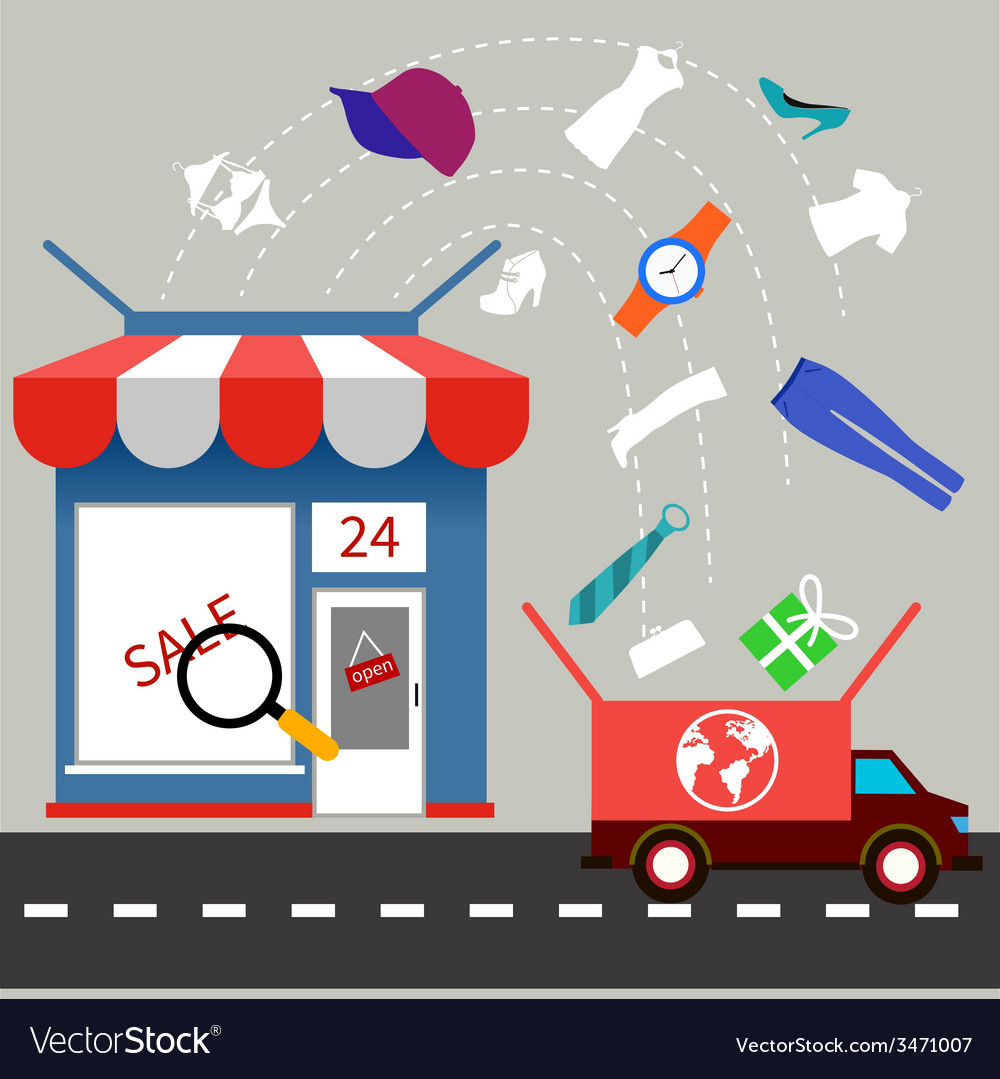 Online store with delivery service concept vector | Price: 1 Credit (USD $1)