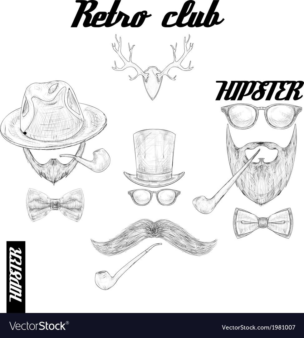 Retro hipster club accessories vector | Price: 1 Credit (USD $1)