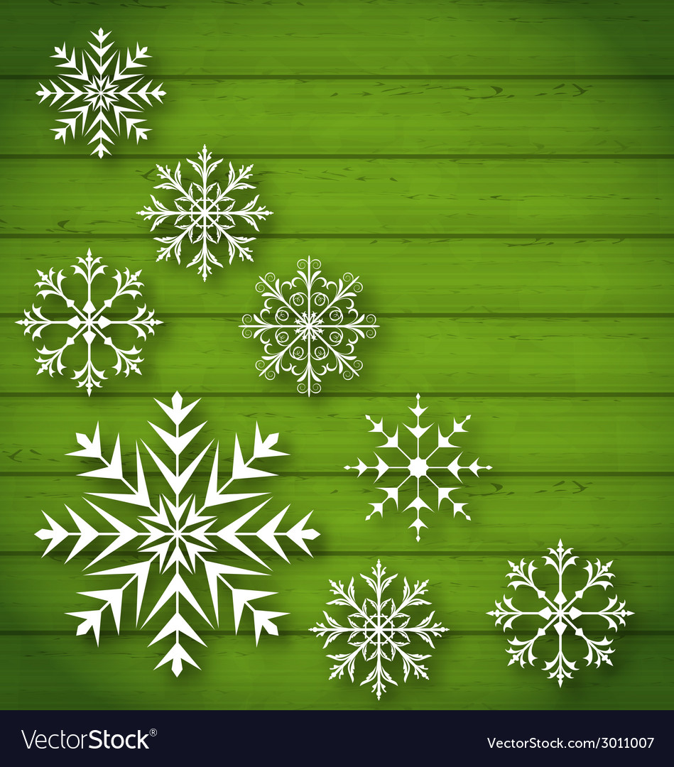 Set geometric snowflakes on wooden background vector | Price: 1 Credit (USD $1)