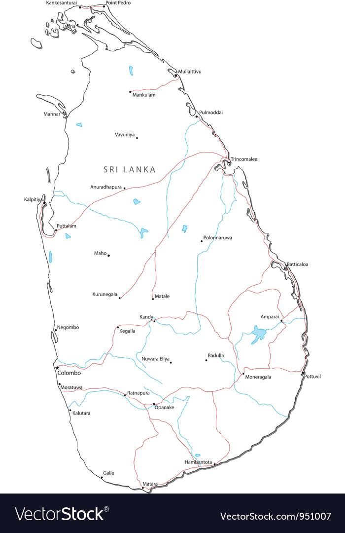 Sri lanka black white map vector   Price: 1 Credit (USD $1)