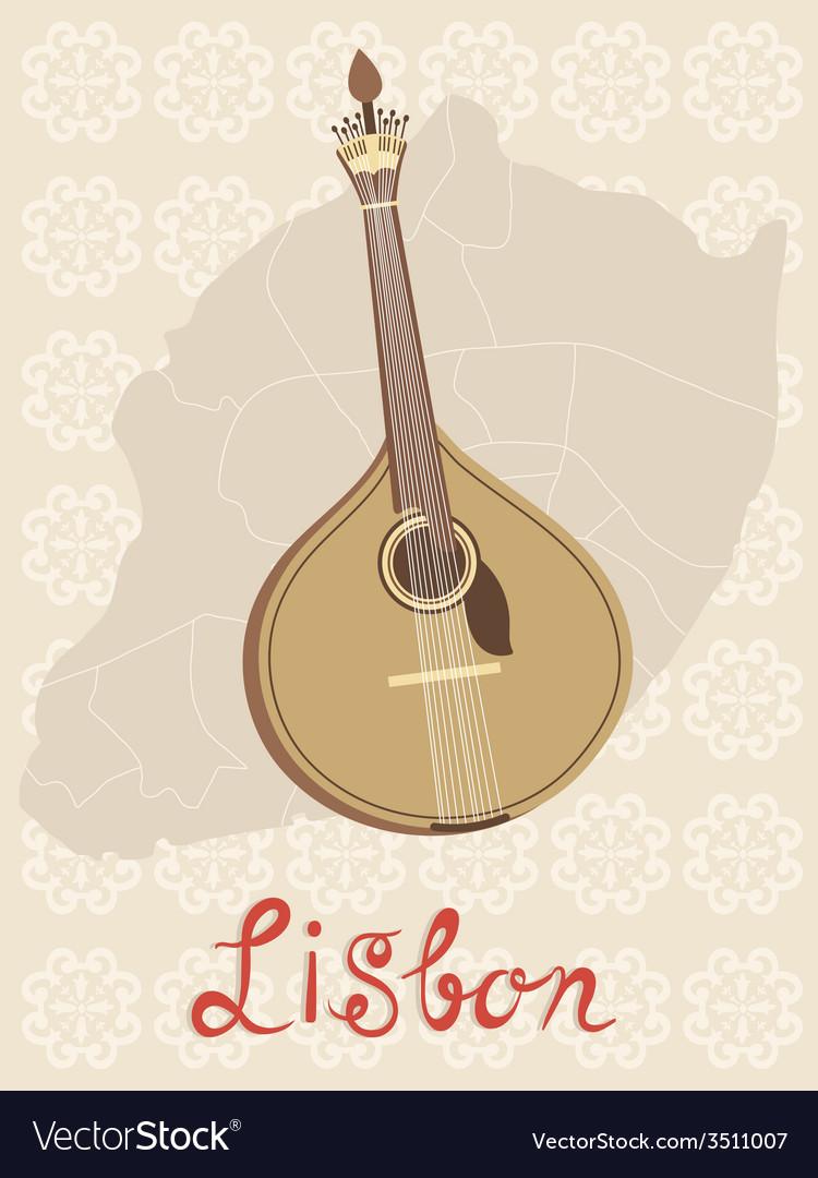 Tipical portuguese fado guitar over lisbon map and vector   Price: 1 Credit (USD $1)