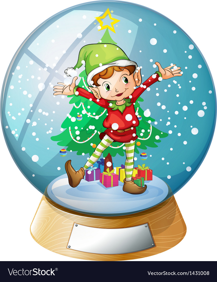 An elf in front of a christmas tree inside a vector | Price: 1 Credit (USD $1)