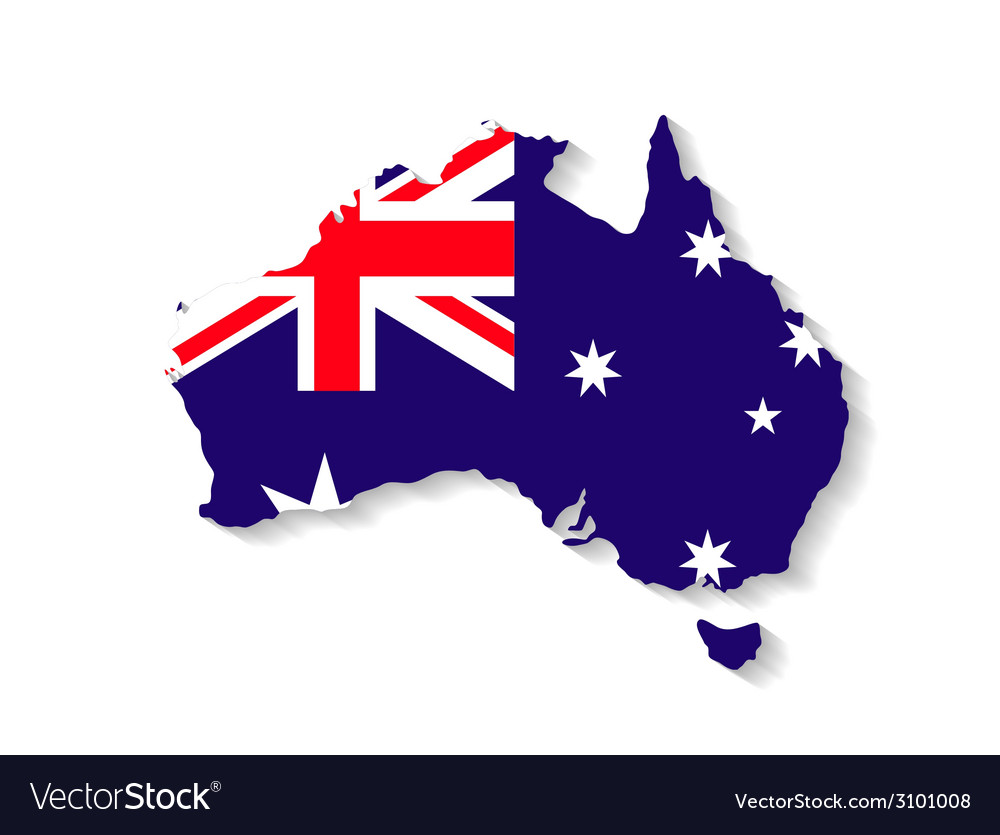 Australia flag map with shadow effect vector | Price: 1 Credit (USD $1)
