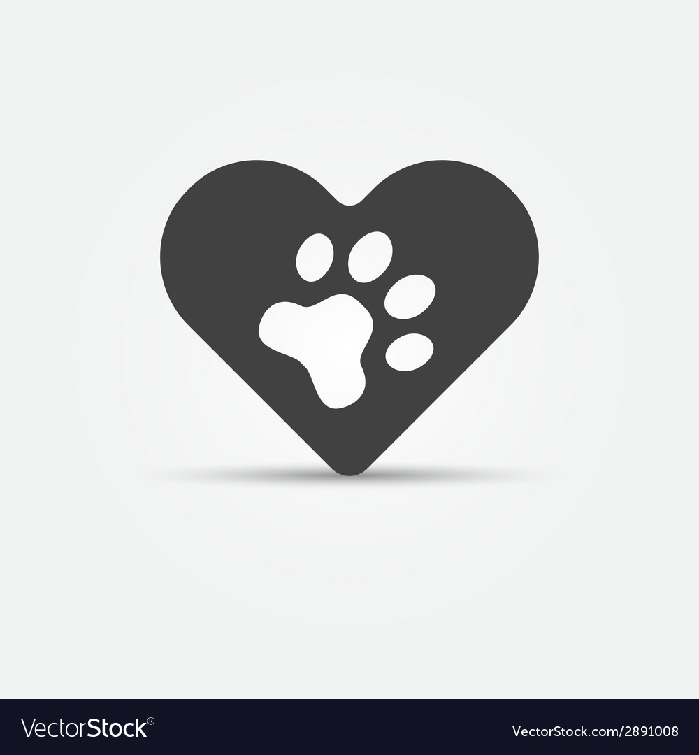 Black pet paw in heart icon vector | Price: 1 Credit (USD $1)