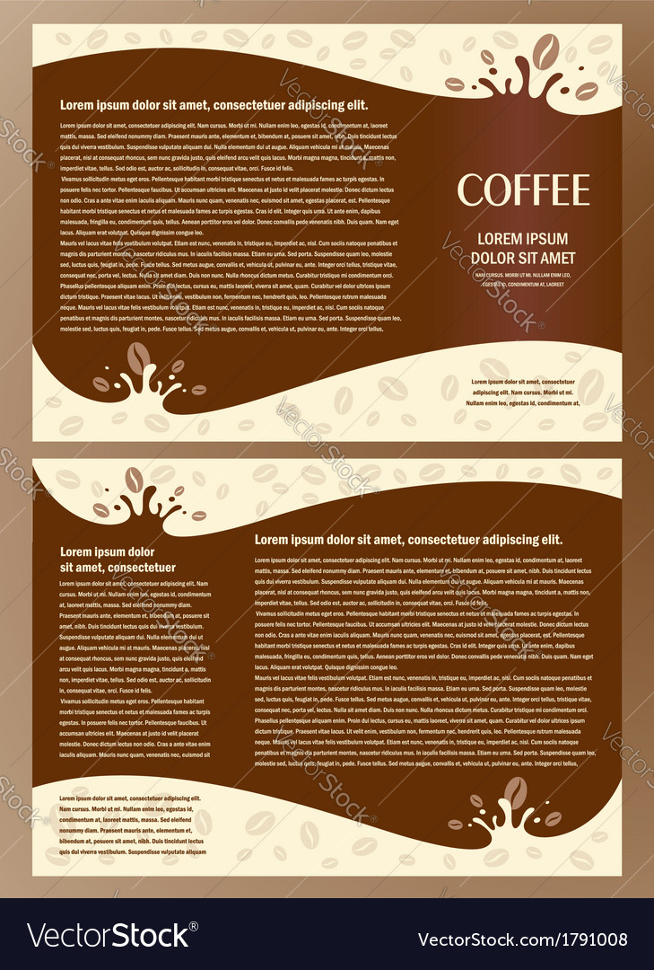 Brochure folder card coffee liquid vector | Price: 1 Credit (USD $1)
