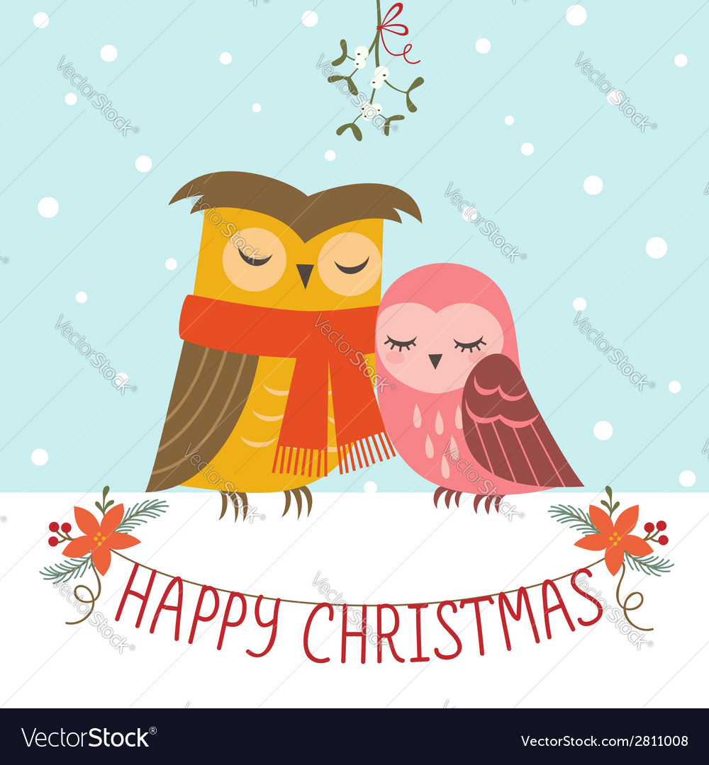 Christmas couple of owls vector | Price: 1 Credit (USD $1)