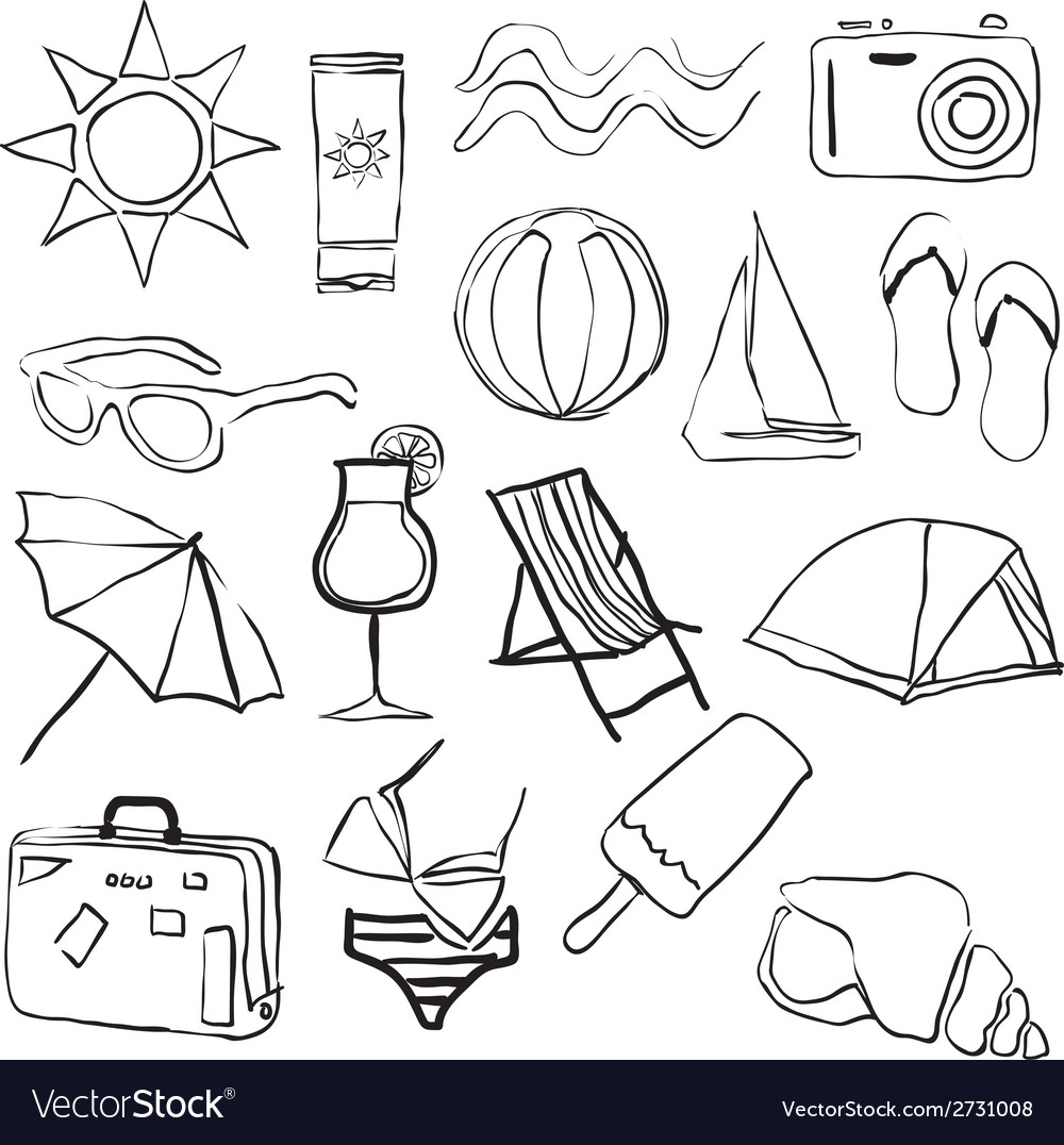 Doodle summer collection vector | Price: 1 Credit (USD $1)