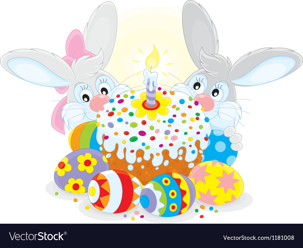 Easter cake and eggs vector | Price: 3 Credit (USD $3)