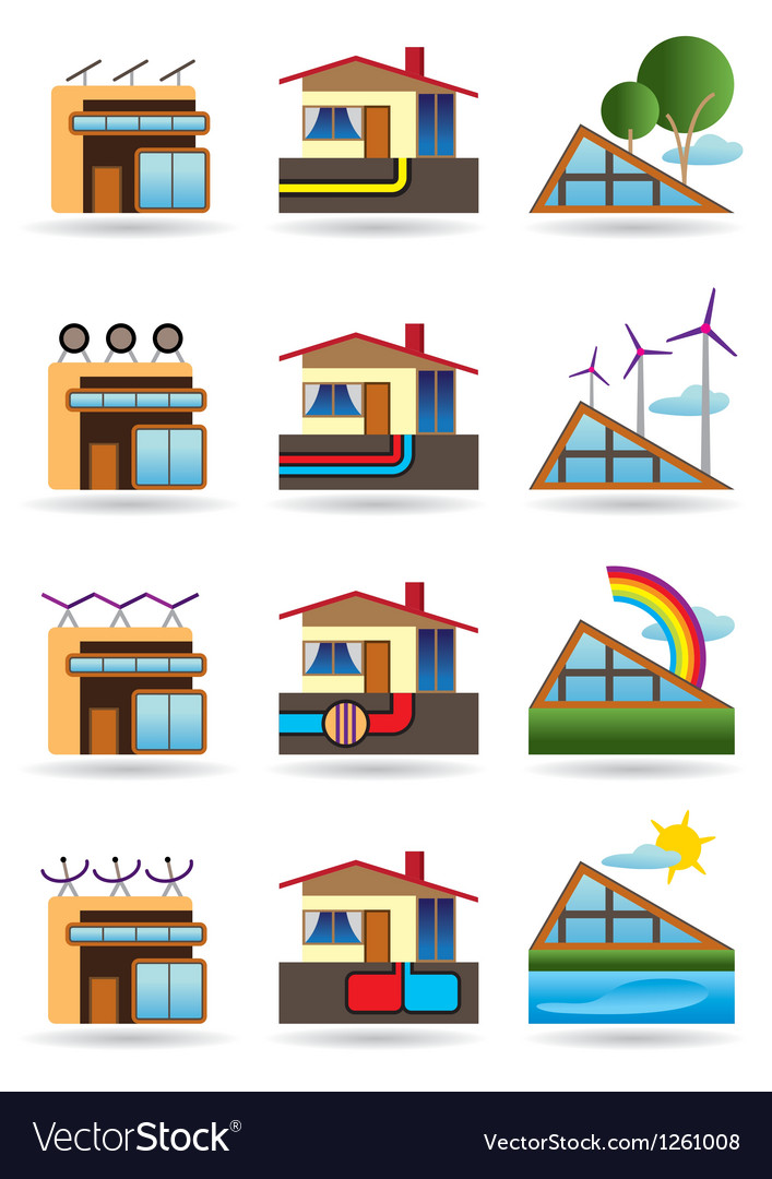 Green building with green energy sources vector | Price: 3 Credit (USD $3)