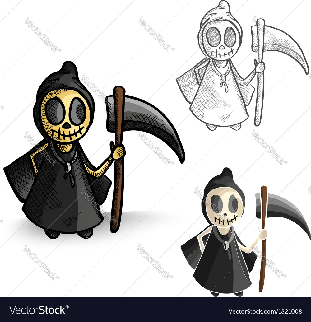 Halloween monsters isolated spooky reapers set vector | Price: 1 Credit (USD $1)