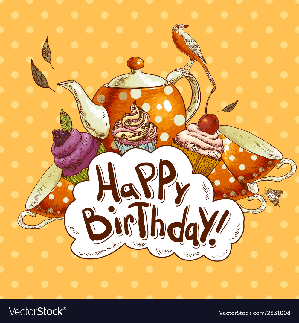 Happy birthday card with a cupcake and pot vector | Price: 1 Credit (USD $1)
