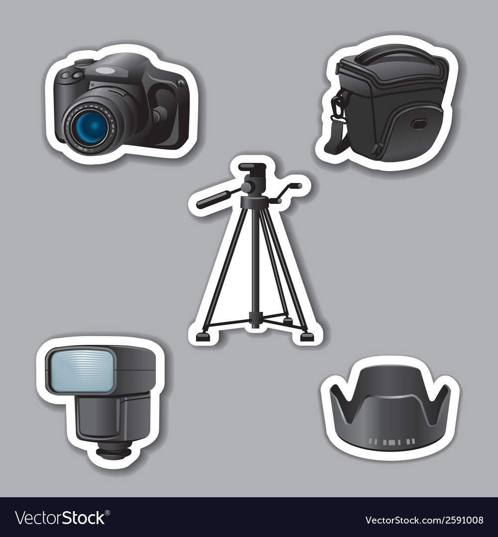 Photography equipment stickers vector | Price: 1 Credit (USD $1)