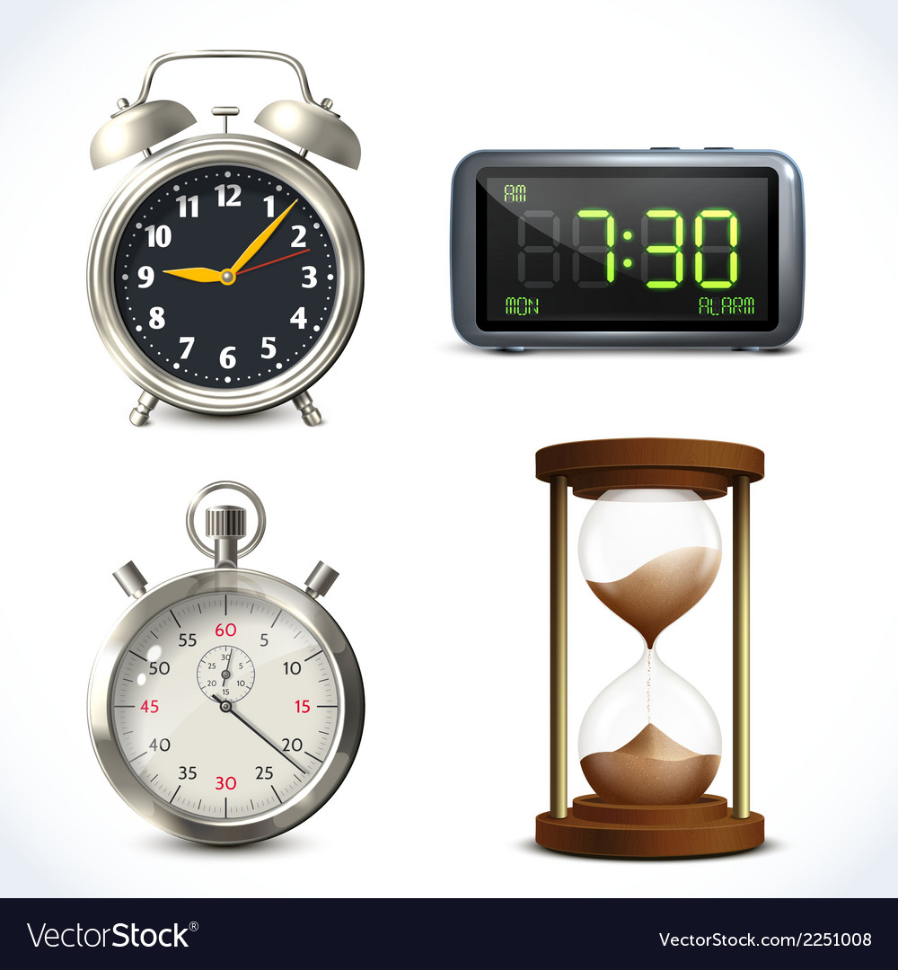 Realistic clock set vector | Price: 1 Credit (USD $1)