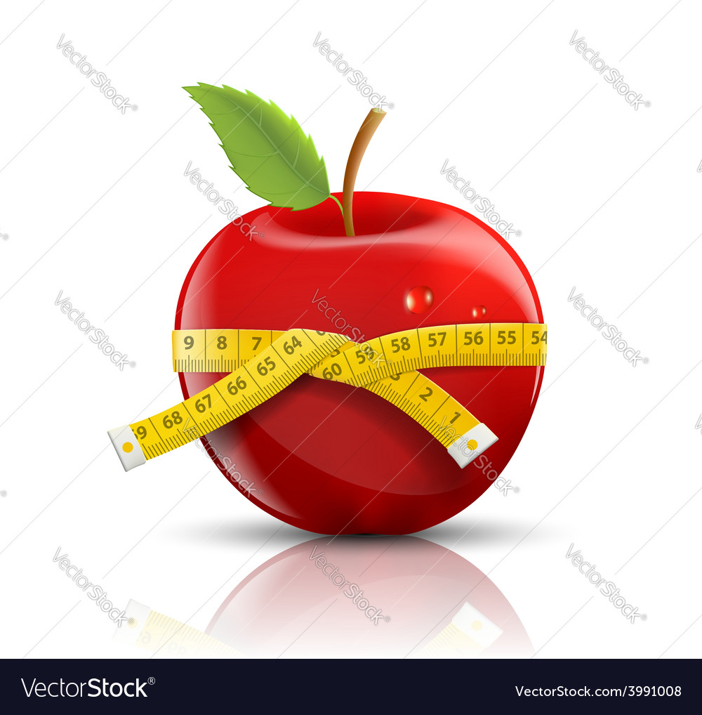 Red apple with measuring tape isolated on white vector | Price: 1 Credit (USD $1)