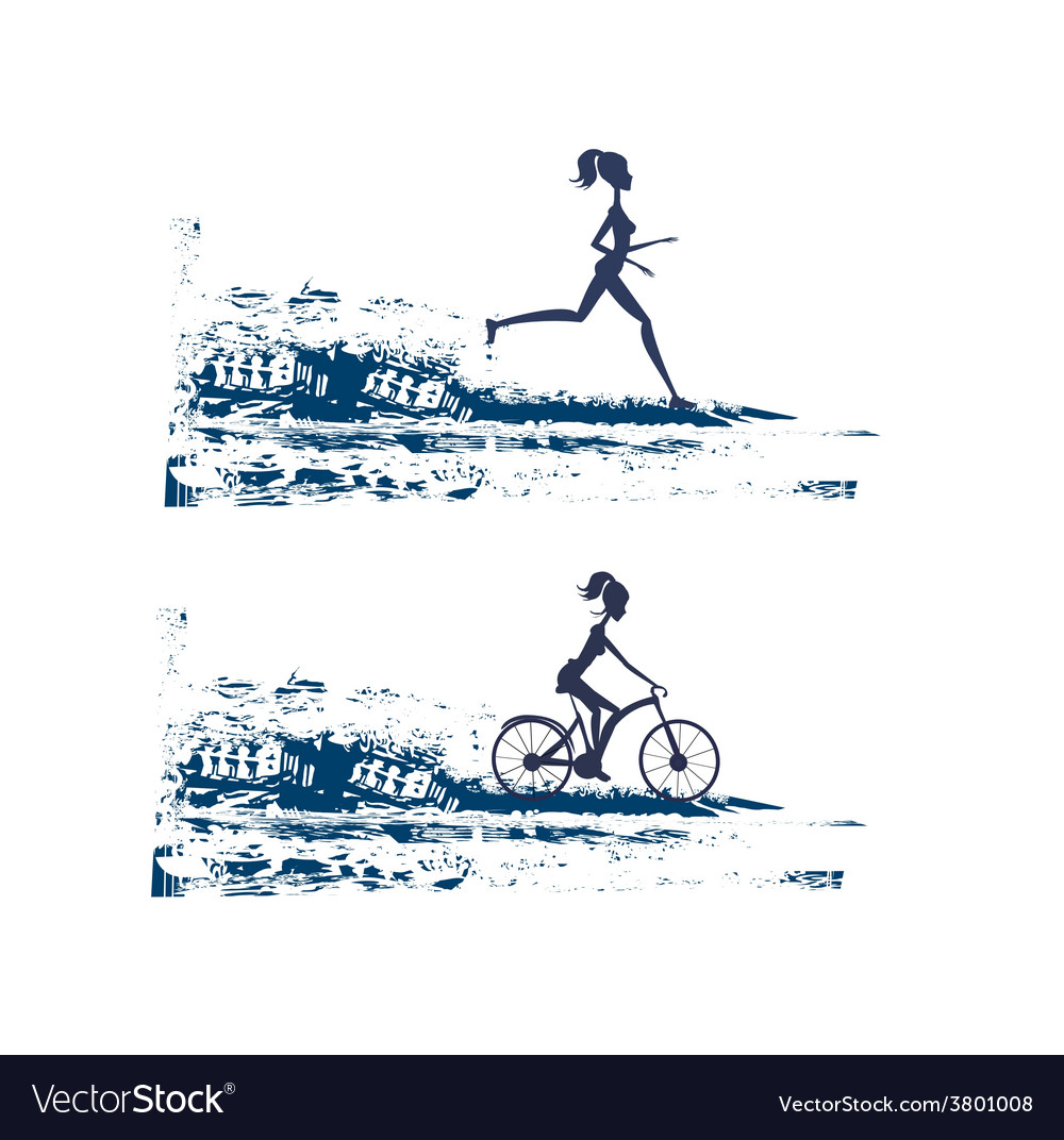 Silhouette of marathon runner and cyclist race - vector | Price: 1 Credit (USD $1)