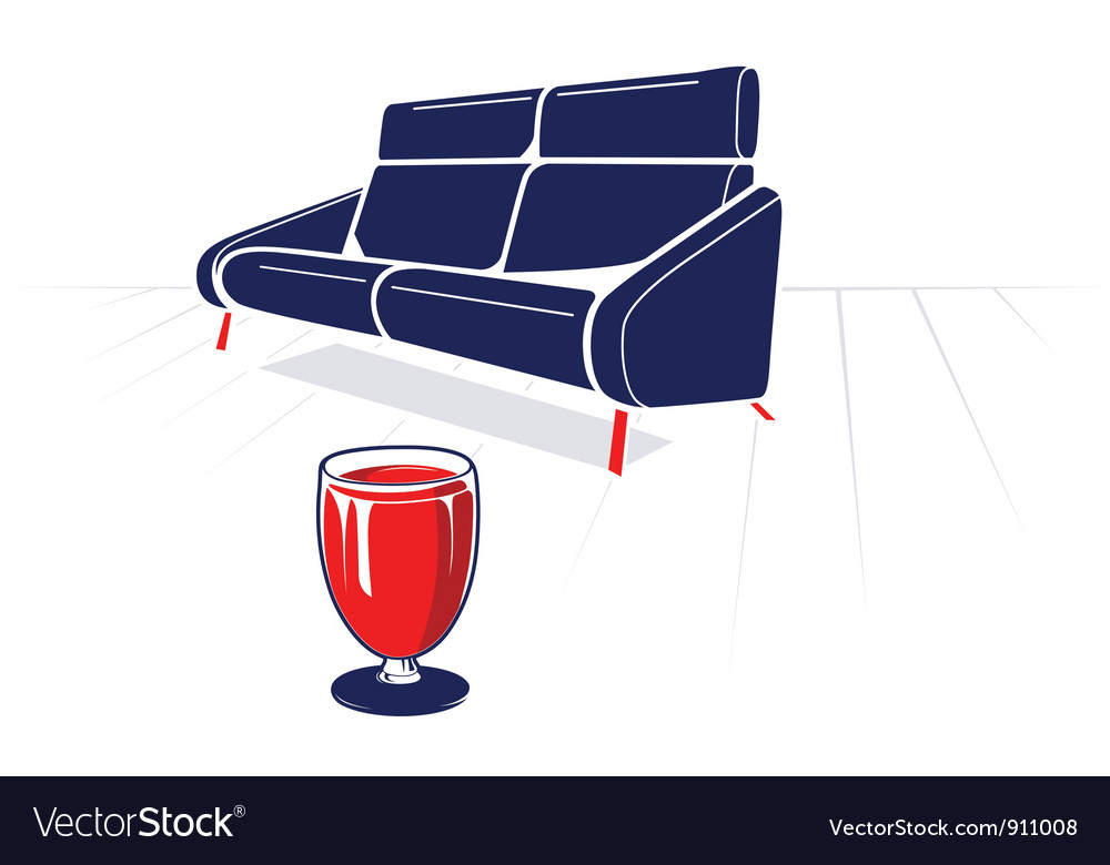 Soft sofa and glass vector | Price: 1 Credit (USD $1)